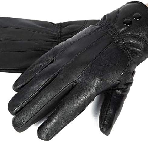 Gloves New Women's Winter Warm Genuine Leather Gloves Thermal Insulation Lambskin Black #3 Color Size S Get 1 Pair