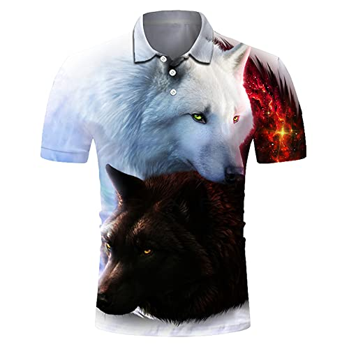 SSBZYES Camiseta para Hombre Camiseta De Manga Corta para Hombre Camiseta Polo para Hombre Camiseta con Solapa De Secado Rápido para Hombre Camiseta Casual con Estampado De Lobo Blanco Y Negro