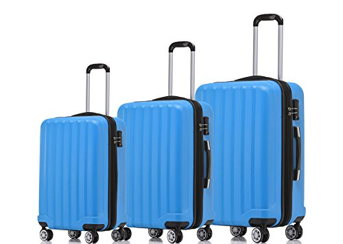 BEIBYE TSA-Schloß 2080 Hangepäck Zwillingsrollen neu Reisekoffer Koffer Trolley Hartschale Set-XL-L-M(Boardcase) (Türkis, Set)