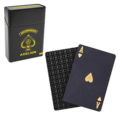 ACELION Waterproof Playing Cards, Plastic Playing Cards, Deck of Cards (Black Card Black Tin)