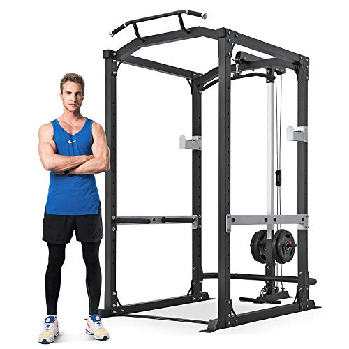 MaxKare Power Cage with LAT Pulldown Attachments Power Squat Rack with 1600 LBS Capacity 14 Height Adjustable Olympic Squat Rack for Home Gym Barbell Strength Training Smith Machine