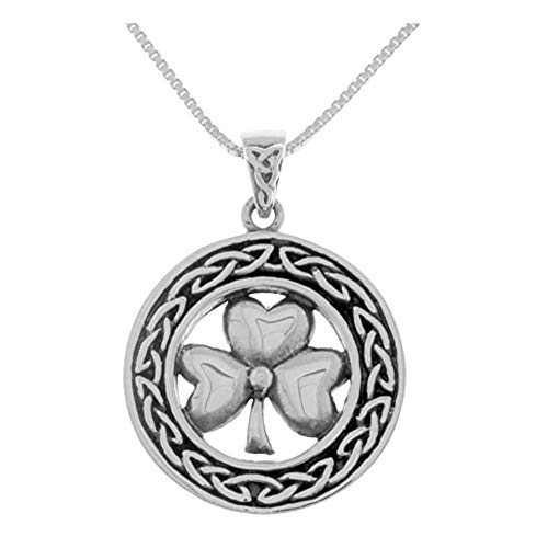 Trends Sterling Silver Celtic Good Luck Clover Shamrock Pendant Necklace 18' Birthday Gifts