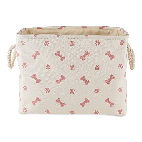 Bone Dry Pet Storage Collection Paw and Bone Print, Small Rectangle, Rose
