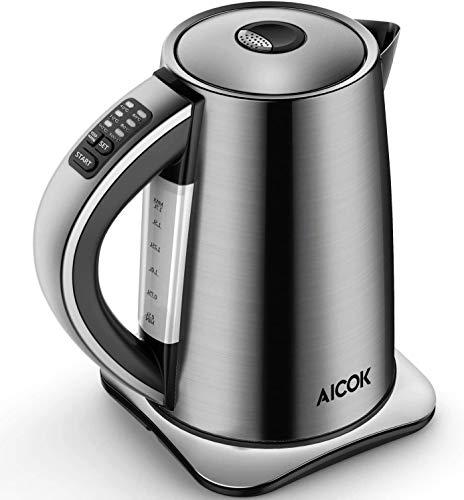 Aicok Bouilloire Électrique Thermostat Réglable, 6 températures préréglées pour Bouilloire à Thé Bouilloire Inox 1.7L, Arrêt Automatique 2200W Argent
