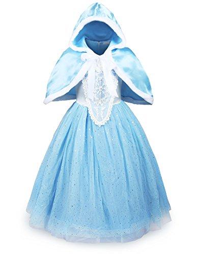 ReliBeauty Mädchen glänzendes Paillette Prinzessin Kleid Kostüm- Etikettgröße: 120, Hellblau
