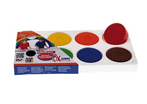 Unbekannt Kindermalkasten mit 8X Tempera Farb-Pucks, Tempera-Blöcke 55mm - 8 Farben in Kunststoff-Palette