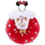 IBTOM CASTLE Conjunto de 3 piezas de ropa para bebé o niña, de manga corta, de algodón, con lunares de princesa, tutú y Minnie Mouse, diadema Globo rojo con texto 'My 3rd Birthday' 3 Años