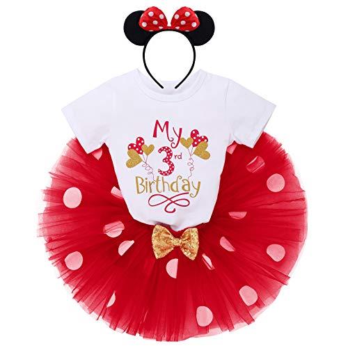 """IBTOM CASTLE Conjunto de 3 piezas de ropa para bebé o niña, de manga corta, de algodón, con lunares de princesa, tutú y Minnie Mouse, diadema Globo rojo con texto """"My 3rd Birthday"""" 3 Años"""