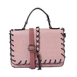 حقيبة حريمي من الجلد الصناعي المنقوش من Grinta مع مقبض علوي من الأكورديون وحزام الكتف