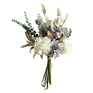 Acamifashion 1 Pc Artificial Flowers Bunch Faux Silk Dahlia Floral Bouquet Wedding Garden Outdoor Party Home Yard Banquet Table Centerpieces White Blue
