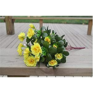 Artificial and Dried Flower one Azalea Bush Fake Azaleaes Fowers Gardenias 7 Stems for Wedding Centerpiece Decor Flowers – ( Color: Yellow )
