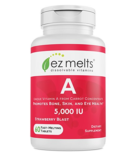 EZ Melts A as Retinol from Carrot Concentrate, 5,000 IU, Immune Support, Sublingual Vitamins, Vegan, Zero Sugar, Natural Strawberry Flavor, 60 Fast Dissolve Tablets