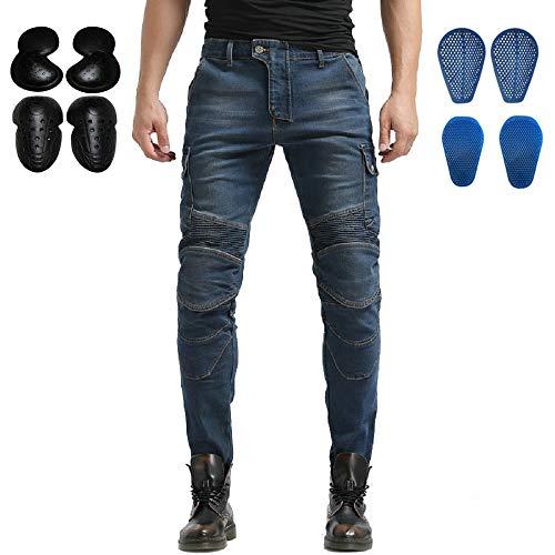 WCCI Vaqueros de moto para hombres - Kelvar - Protección Aramid Motocicleta Pantalones Biker Pants (Azul, M=33