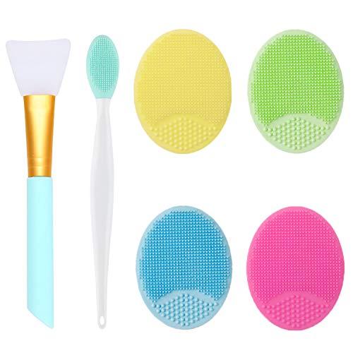 OBSCYON Set di 6, Spazzola Pulizia Viso in Silicone, Esfolianti Spazzole per le Labbra y Pennello per Maschera, per Skin Care