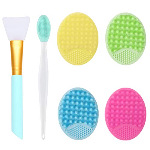 OBSCYON 6 Piezas, Cepillo limpieza Exfoliante de Silicona Facial, Cepillo de Labios y Cepillo Máscara, que se Utilizan para Todos los Tipos Piel