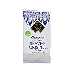 Light, thin and crispy toasted nori snacks (crispy seaweed thins) Made with just four simple ingredients: nori grown in the clear waters off the coast of Korea, unrefined sea salt and organic sunflower and rapeseed oil Baked for just a few seconds to...
