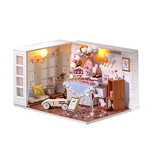 DIY Weihnachten Puppenhaus Mit LED Licht Häuser Für Geburtstag Feiern,DIY Mini Toy House Kit Realistische Mini 3D Holzhaus Zimmer Handgemachtes Spielzeug Möbel Leuchten Weihnachten Geburtstag