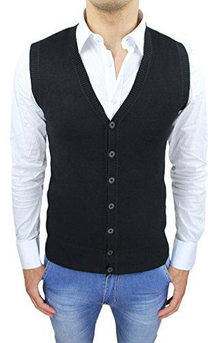 AK collezioni Gilet smanicato uomo nero slim fit casual elegante corpetto maglia a cardigan (S)