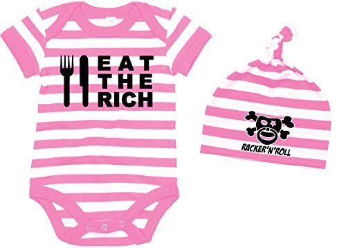 racker N Roll Eat The Rich Body + bonnet Set Baby Body rayé rose/blanc - - 6 mois
