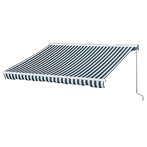 Outsunny Toldo Eléctrico Retráctil con Función Manual con Manivela y Mando a Distancia 300x250 cm para Ventanas Puertas de Rayas Verde y Blanco