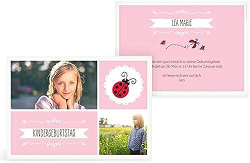 greetinks 30 x Einladungskarten Kindergeburtstag 'Marini' in Rosa   Personalisierte Geburtstagskarten zum selbst gestalten   30 Stück Einladungen Kinder Geburtstag - Jungen & mädchen