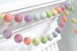 "Pastel Rainbow Felt Ball Garland- Spring Easter- 1"" (2.5 cm) Wool Felt Balls"