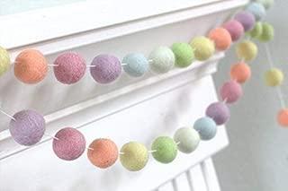 "Pastel Rainbow Felt Ball Garland- 1"" (2.5 cm) Wool Felt Balls"