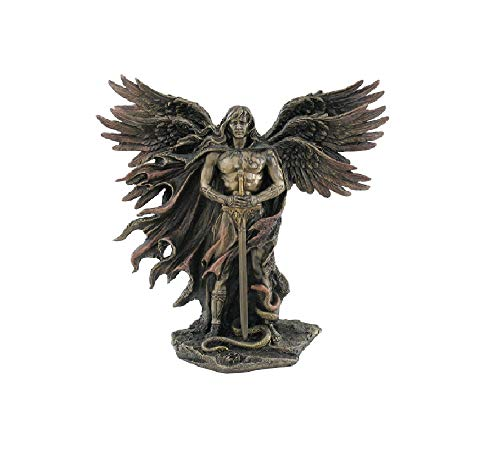 Unicorn Studio WU75976A4 Guardian Angel Statue in 6 Winged with Sword and Serpent, 11-inch Cold Cast Bronze