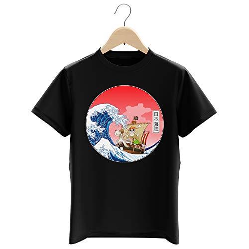 T-Shirt Enfant Garçon Noir Parodie One Piece - La Grande Vague de Kanagawa et Le Vogue Merry - Pirates en mer du Japon. : (T-Shirt Enfant de qualité Premium de Taille 13-14 Ans - imprimé en France