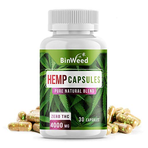 Binweed Hemp Oil Capsules, 4000MG Per Bottle, Relieves Pain Stress Anxiety Insomnia (30 Day Supply)