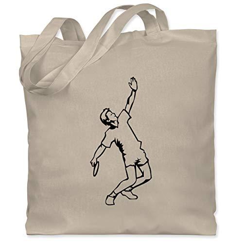 Sport Kind - Badminton Aufschlag - Unisize - Naturweiß - Mann - WM101 - Stoffbeutel aus Baumwolle Jutebeutel lange Henkel