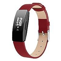 Comtax for Fitbit Inspire HR バンド 天然皮革交換用ベルト 多色選択 調整可能 対応 Fitbit Inspire Fitbit Inspire HR (S,レッド)