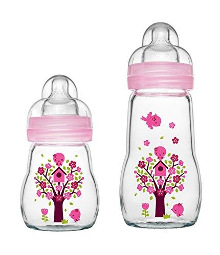 MAM Feel Good Glass Bottle 170ml und 260 ml Glas Flasche für Mädchen