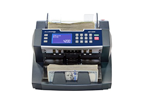 AccuBANKER AB4200UV Bank Grade Money Counter Machine 300 Bills Hopper Capacity Variable Counting Speeds up to 1,800 Bills/min with Counterfeit Detector Ultraviolet & Emergency Stop Function