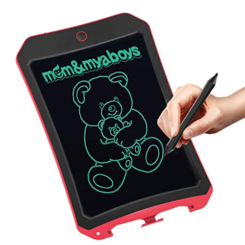 mom&myboys 8.5inch LCD Smart Writing Tablet Kids,Electronic Doodle Board Magnetic Drawing Pads for Gifts Toys /Adults Noting(Red-9)