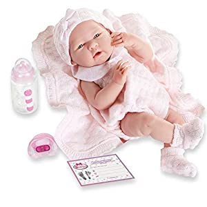 You can also be a super parent by taking care of your baby Berenguer. The baby is dressed in a pink knitted outfit and comes with a matching blanket. Eye Colour:Blue/Grey Body material:Vinyl.