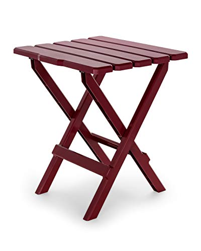 Camco Large Adirondack Portable Outdoor Folding Side Table - Perfect for The Beach, Camping, Picnics, Cookouts and More - Weatherproof and Rust Resistant - Red (21040)