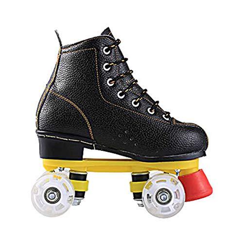LRZ Quad Rollschuhe Classic Retro Artistic Skate Schuhe Zweireihige Verschleißfest PU Rollen Für Kinder Jugendliche Und Erwachsene,Schwarz,43