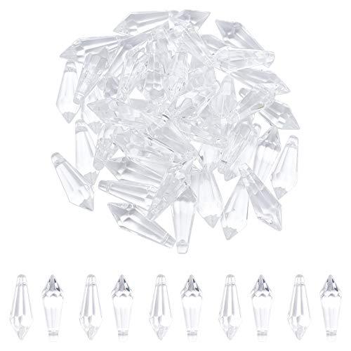 AHANDMAKER 50pcs 38x14mm Colgante de Carámbano de Cristal Atrapasol de Cristal con Orificio de 1 mm, Lámpara Portavelas Cortina Piezas de DIY, Claro Y Transparente