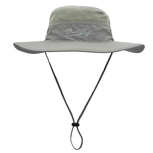 Outfly Wide Brim Sonnenhut Mesh Bucket Hut Leichtgewicht Bonnie Hut Perfekt für Outdoor-Aktivitäten, Verschiedene Farben (Light grey)