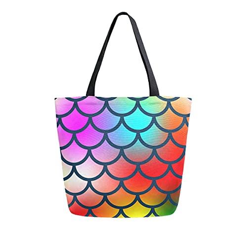 XXNO - Bolsa de lona con diseño de sirena, gran capacidad, para el trabajo, playa, viajes, comestibles