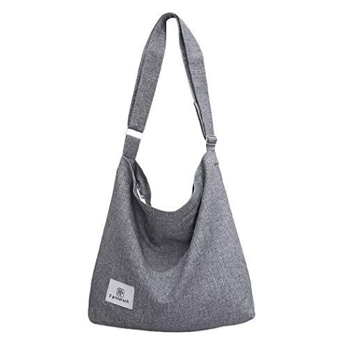 Fanspack Umhängetasche Damen, Handtaschen Damen Hobo Bag Canvas Damentaschen Groß Kapazität Schultertasche Grau…