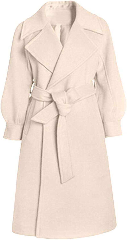 Malihcr Womens Fashion Winter Lapel Wool Coat Jacket Overcoat
