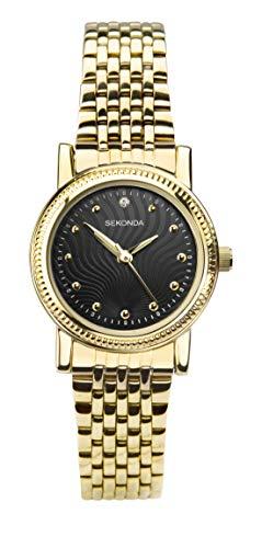 Sekonda 2699 - Orologio da donna in acciaio inossidabile placcato oro con quadrante nero
