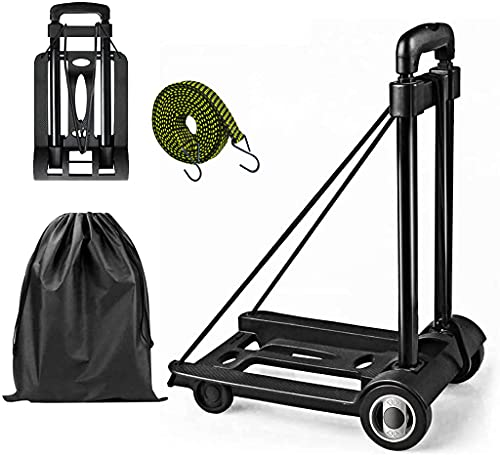 Folding Luggage Cart - Lightweight Collapsible Fold Up Dolly Portable Folding Hand Truck for Travel, Moving, Shopping and Office Use, Support 40kg 88lbs Capacity