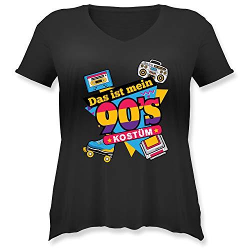 Karneval & Fasching - Das ist Mein 90er Jahre Kostüm - L (48) - Schwarz - JHK603 - Weit geschnittenes Damen Shirt in großen Größen mit V-Ausschnitt