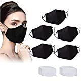 Adult Washable & Reusable Black Face Bandanas with Replaceable Activated Carbon Filter (5pcs+20filters)