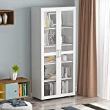 Homsee Bookcase Storage Cabinet with Glass Doors, 5-Tier Bookshelves Wooden Organizer for Living Room, White