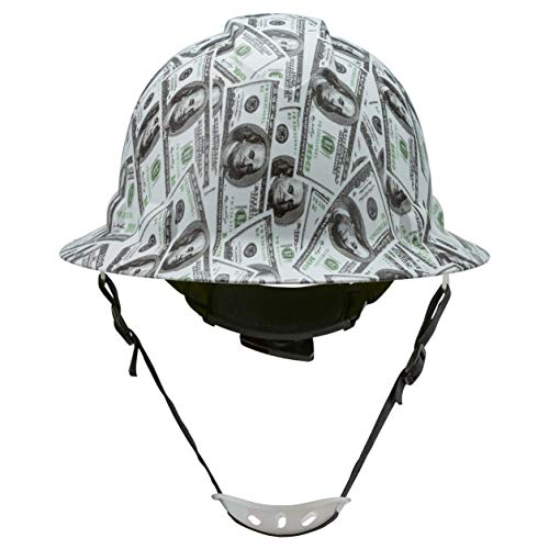 Full Brim Hard Hat Construction OSHA Approved Hardhats, Men Women Safety Helmet, 6 Point, Chin Strap, Custom Patriotic Design, by Acerpal, All About The Benjamins