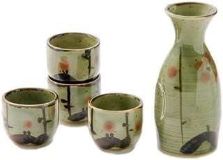 Authentic Japanese Pottery SAKE Set 5流体オンスTokkuriボトルwith 4つ1oz酒器カップSake Set日本製 グリーン